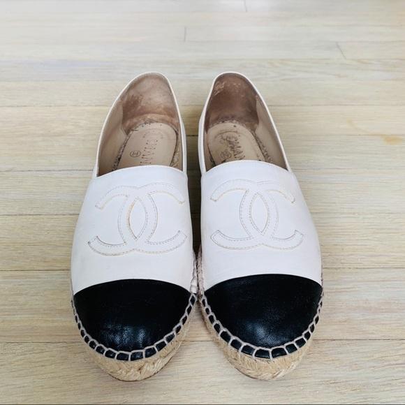 Chanel Whiteblack Lambskin Espadrilles